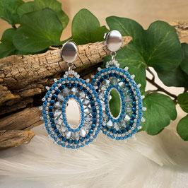 Ohrringe Boho Style - Oval - Blau