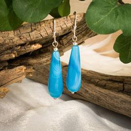 Ohrringe mit Achat Tropfen Blau
