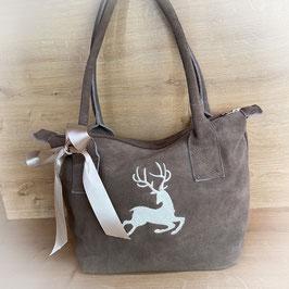 Wildleder Tasche mit Hirsch Motiv in taupe von Rosi Bavaria