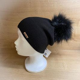 Mütze mit Bommel schwarz HB40001