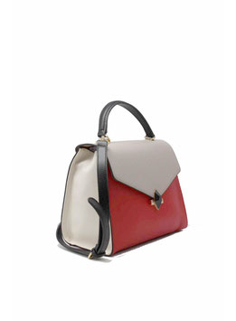 Handtasche rot creme taupe 20042802
