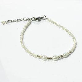 Armband mit Süßwasserperlen weiß