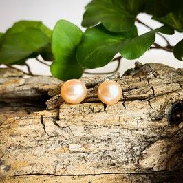 Süsswasser-Perlen Ohrstecker apricot  7mm