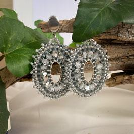 Ohrringe Boho Style - Oval - Grau