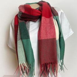Warmer Schal Karo rot/grün SH30019