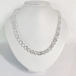 Bergkristall Kette aus matten und geschliffenen 8mm Perlen
