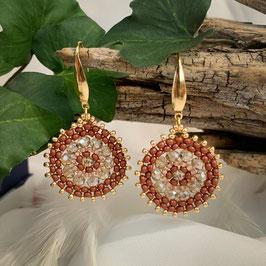 Bezaubernde Ohrringe Seed Beads Braun Gold