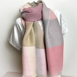 Weicher XL  Schal, Plissee Look, Farbkombi rosa SH30026