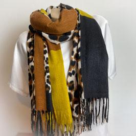 Warmer Schal  in braun/senf/schwarz SH30001