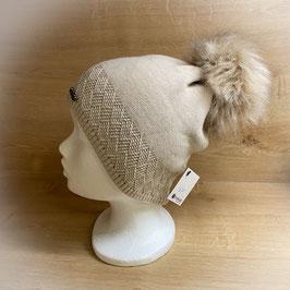 Mütze mit Bommel beige HB40004