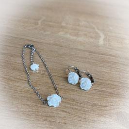 Ohrringe und Armband aus Edelstahl mit weißer Rose