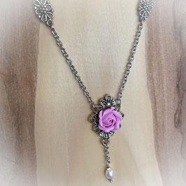 Trachtenkette mit Rose in rosa
