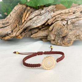 Armband geknüpft, Mandala Gold