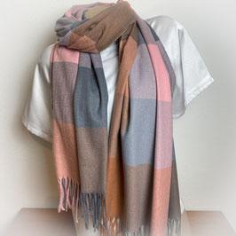 Warmer Schal Karo rosa/grau  SH30024