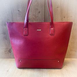 Handtasche rot mit Blätter T201005
