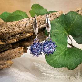 Glitzernde Ohrhänger mit kleinen Miyuki Perlen Blau