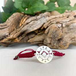 Armband geknüpft, Mandala 2 - Silber