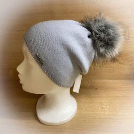 Mütze mit Bommel eisblau HB40003