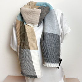 Weicher XL  Schal, Plissee Look, Farbkombi grau SH30027