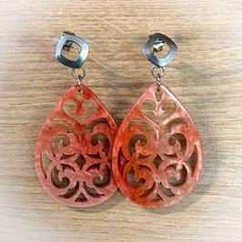 Ornament Ohrrstecker aus Kunstharz - Tropfen