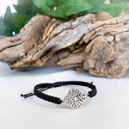 Armband geknüpft, Blume Mandala Silber