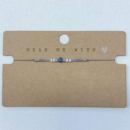 Armband mit Perlen fein grau-blau