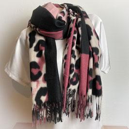 Warmer Schal  in rosa/schwarz SH30003