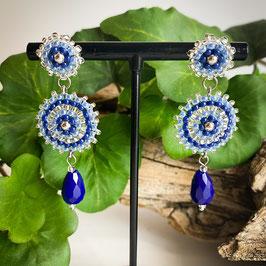 Tropfenohrringe mit Miyuki Perlen blau