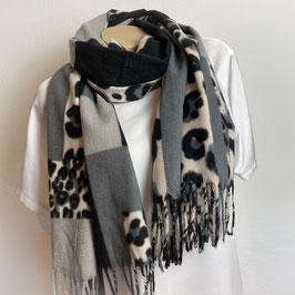 Warmer Schal  in grau/schwarz SH30004
