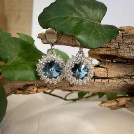 Glitzernde Kristall Ohrringe im Vintage-Style, blau