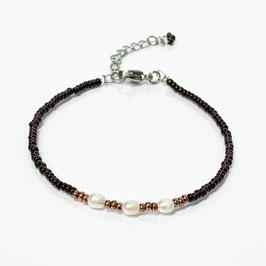Armband mit Süßwasserperlen dunkelbraun