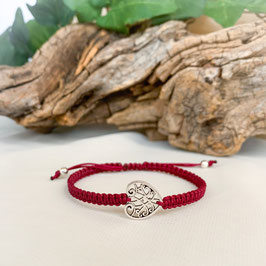 Armband geknüpft, Herz Mandala Silber