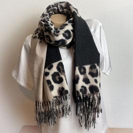 Warmer Schal  in beige/schwarz SH30002