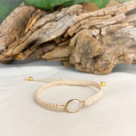 Armband geknüpft, Glasstein Gold