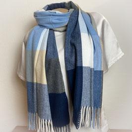 Warmer Schal Karo blau SH30017