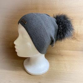 Mütze mit Bommel grau HB40002