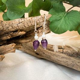 Ohrringe mit Amethyst und Süßwasserperle