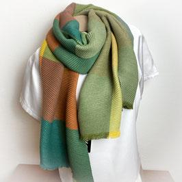 Weicher XL  Schal, Plissee Look, Farbkombi grün SH30028