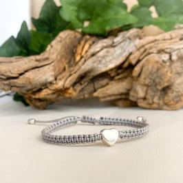 Armband geknüpft, Kleines Herz Silber