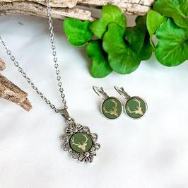Trachtenkette mit Hirsch grün