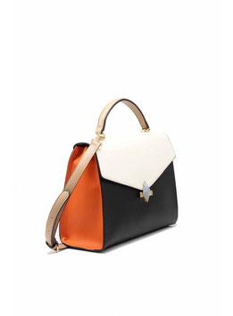 Handtasche creme schwarz orange 20092802