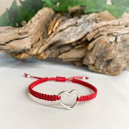 Armband geknüpft, Herz Silber