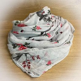 Trachtenschal Rosen mit Hirsch in grau und rose