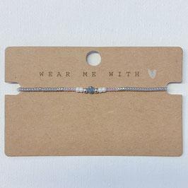 Armband mit Perlen grau-blau
