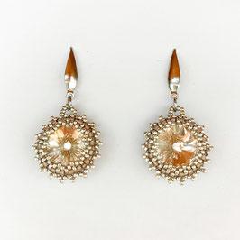 Glitzernde Kristall Ohrringe im Vintage-Style, apricot