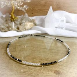 Bergkristall Hämatit Edelsteinkette, facettierte Perlen 3mm mit goldenen Zwischenteilen