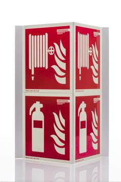 Brandschutzschild Winkelschild 45°, Aluminium, doppelt, nachleuchtend