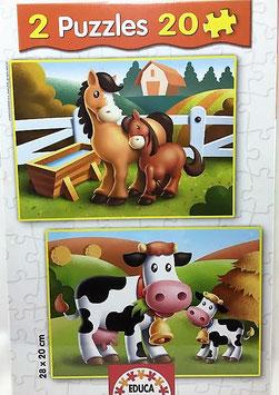 Puzzle Caballos y vacas I Educa