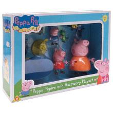 Familia Peppa Pig con accesorios  |  Bandai
