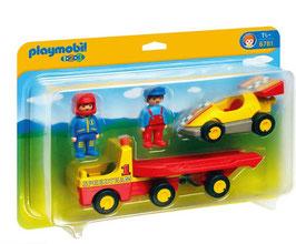 Playmobil 1.2.3 Coche de Carreras con Transporte